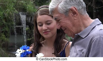 Teen Girl With Grandfather