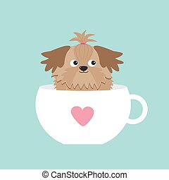 Shih Tzu dog sitting in pink cup with heart. Cute cartoon...