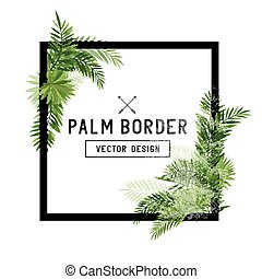 Tropical Palm Leaf Border Vector. Summer Palm tree leaves...