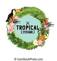 Tropical Wreath Vector. Hand drawn tropical wreath floral...