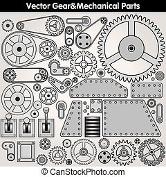 Mechanical Parts and Gears. Vector Kit