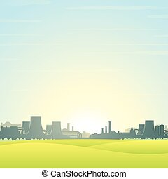 Eco Friendly Nuclear Plant Vector Landscape - Eco Friendly...