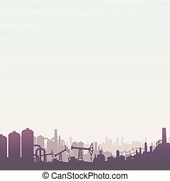 Oil and Gas Industry. Panoramic Vector Landscape
