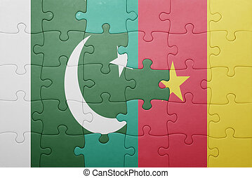 puzzle with the national flag of pakistan and cameroon