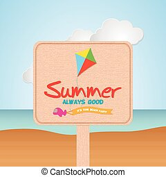 Summer vacation - Isolated sigh with text and a kite icon on...