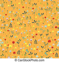 Blossoming Field Vector Seamless Pattern