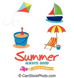 Summer vacation - Set of different summer icons on a white...