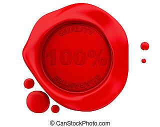 3D red wax seal on white background