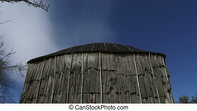 Iroquois longhouse in a reconstructed 15th century native...