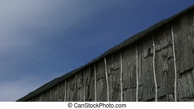 Detail of Iroquois longhouse in a reconstructed 15th century...