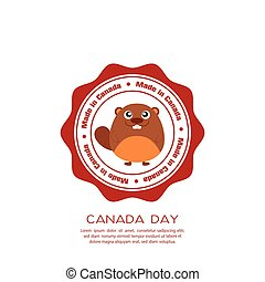 Canada day - Isolated banner with text and a beaver for...