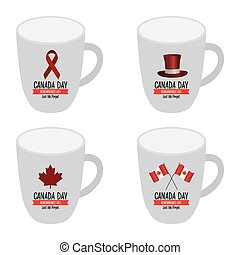 Canada day - Set of mugs with text and different icons for...
