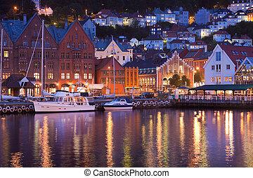 Scenery of Bryggen in Bergen, Norw