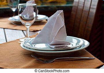 Setting of restaurant table