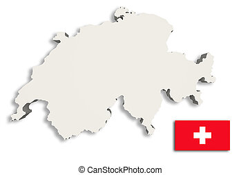 Silhouette of Switzerland map with Switzerlandflag - 3d...
