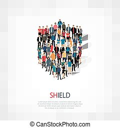 shield people vector - Isometric set of shield web...