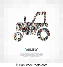 tractor farming people vector - Isometric set of styles...