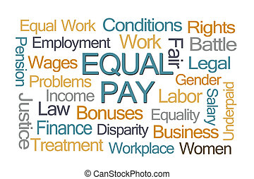 Equal Pay Word Cloud on White Background