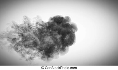 black smoke in super slow motion coming against a white...