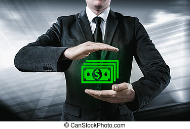 Businessman make money and save money on virtual screens...