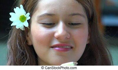 Happy Teen Girl Eating Popsicle