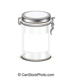 Vector transparent empty glass jar box packaging container...
