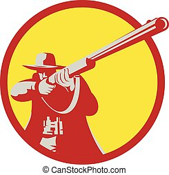 Hunter Aiming Shotgun Rifle Circle Retro