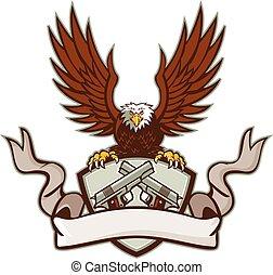 Bald Eagle Crossed 45 Caliber Pistols Shield Retro -...