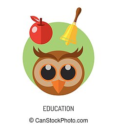 Education Flat Icon Set for Flyer, Poster, Web Site Like...