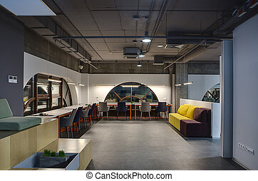 Coworking in a loft style - Hall in a loft style with white...