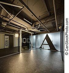Interior, em, Um, sótão, estilo,