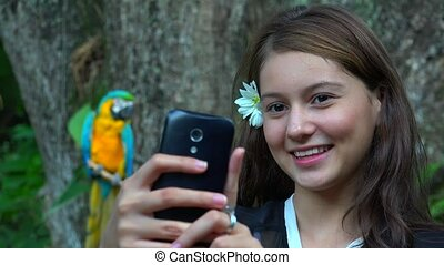Teen Girl Selfie Parrot Cell Smiling