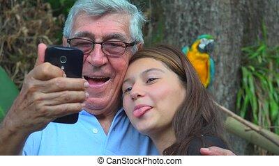 Grandfather Selfie With Teen Girl