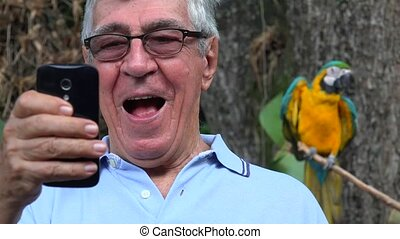 Elderly Man Selfie At Zoo