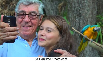 Grandfather Selfie With Teen Girl
