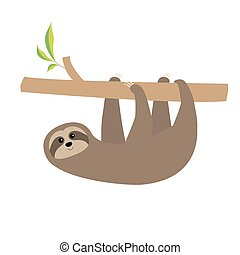 Sloth hanging on tree branch Cute cartoon character Wild...