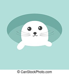 Harp baby seal pup. Ice-hole Cute cartoon character. Blue...