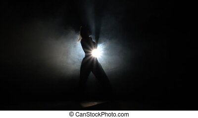 Young girl practicing martial arts Black Silhouette...