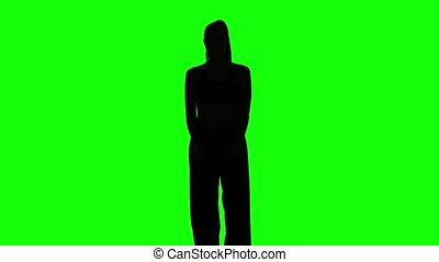 Young girl shows different elements karate Green Silhouette...