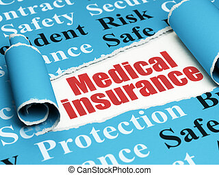 Insurance concept: red text Medical Insurance under the...