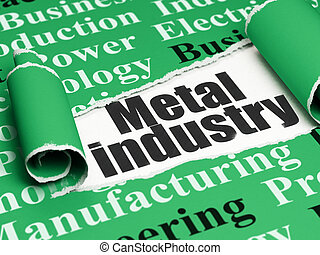 Industry concept: black text Metal Industry under the piece of  torn paper