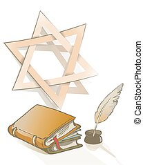 Ancient books and feather and Star of David sign as Judaic...