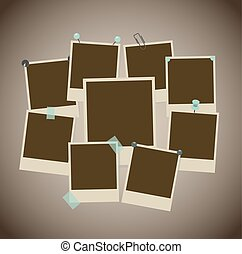 Set of ancient photo frames with pins, pushpins, adhesive tape, clips. vector illustration