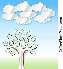 Conceptual image with abstract paper trees and clouds cut out on green and blue spring background. Vector with abstract paper trees for Your eco, recycling, environmental or other theme design