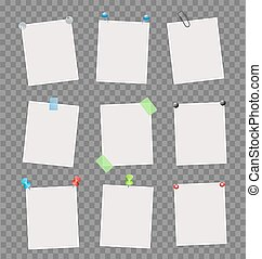 Note papers sheets with scotch tapes,pushpins, pins, clips, other office supplies