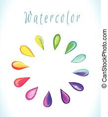 Vector watercolor frame with rainbow drops