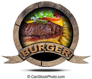 Burger- Wooden Symbol - Wooden round burger symbol or icon...