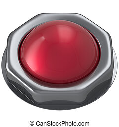 Button red start turn off on action push down activate...