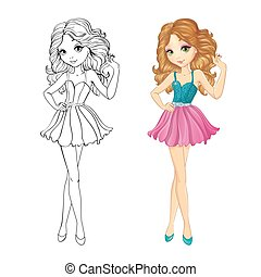 Coloring Book Of Curle Girl - Coloring book vector...