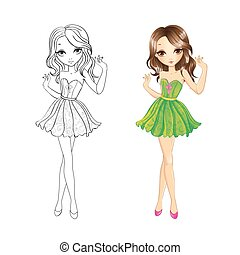 Coloring Book Of Party Girl - Coloring book vector...